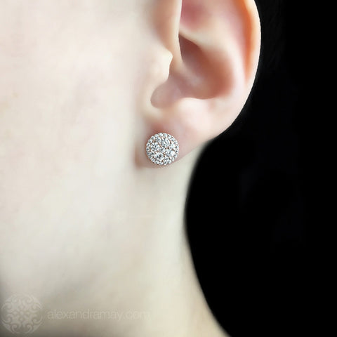 Lustre of London Yellow Gold Round Cluster Stud Earrings (EA18CVY) model