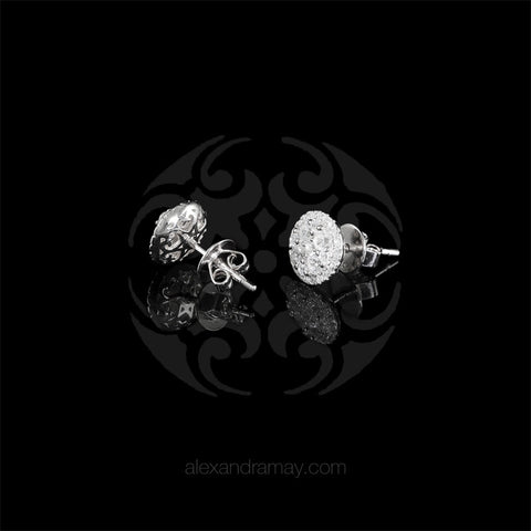 Lustre of London Silver Round Cluster Stud Earrings (EA18CVW) detail