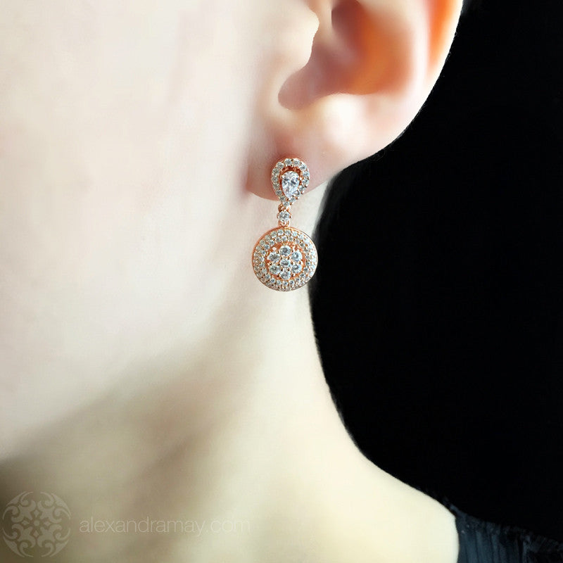 Lustre of London Rose Gold Small Cluster Drop Earrings (EA19CVR) model