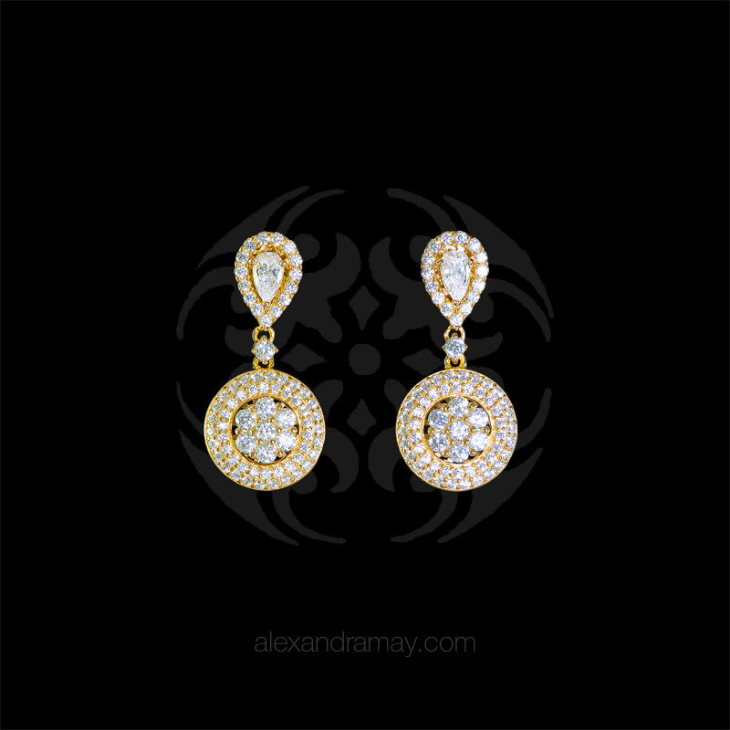 Lustre of London Small Yellow Gold Cluster Drop Earrings (EA19CVY) front