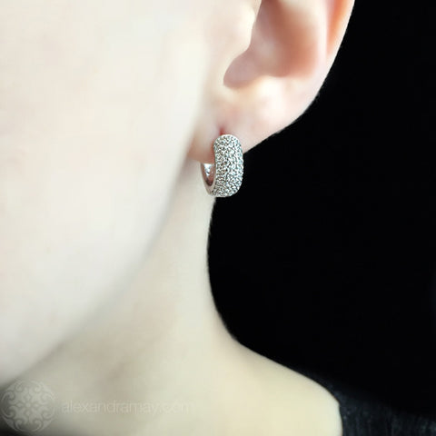 Lustre of London Small Silver Huggies Hoop Earrings (EA22CVW) model