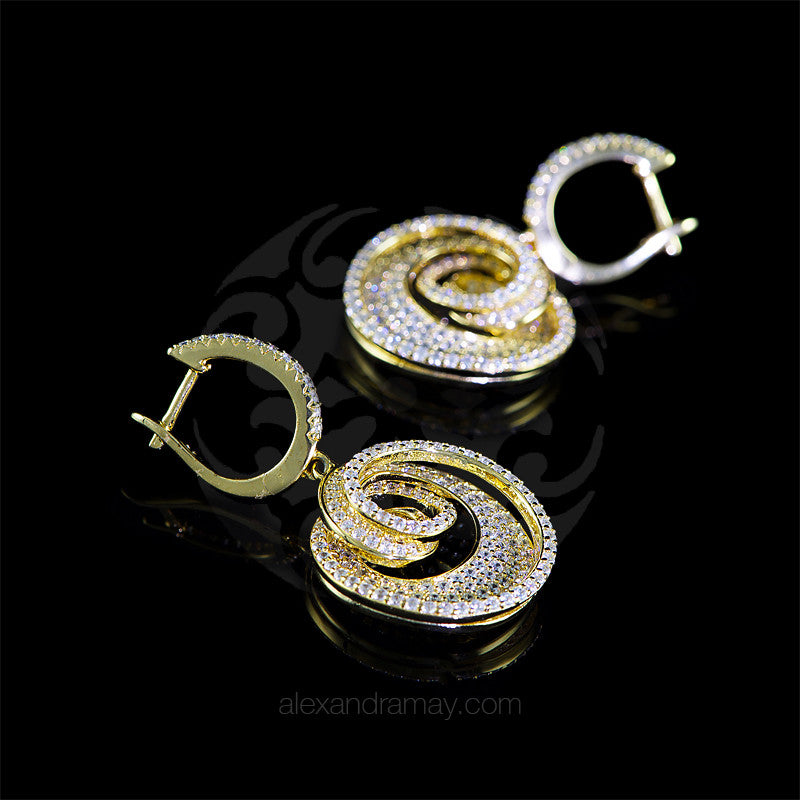 Lustre of London Yellow Gold Round Spiral Earrings (EA25CVY)