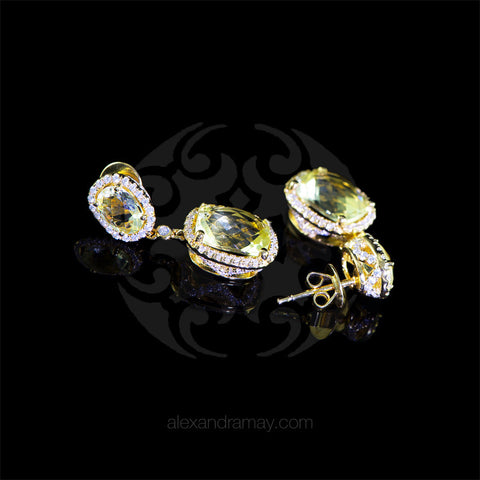 Lustre of London Yellow Gold & Citrine Cushion Cut Earrings (EA30CVY) detail