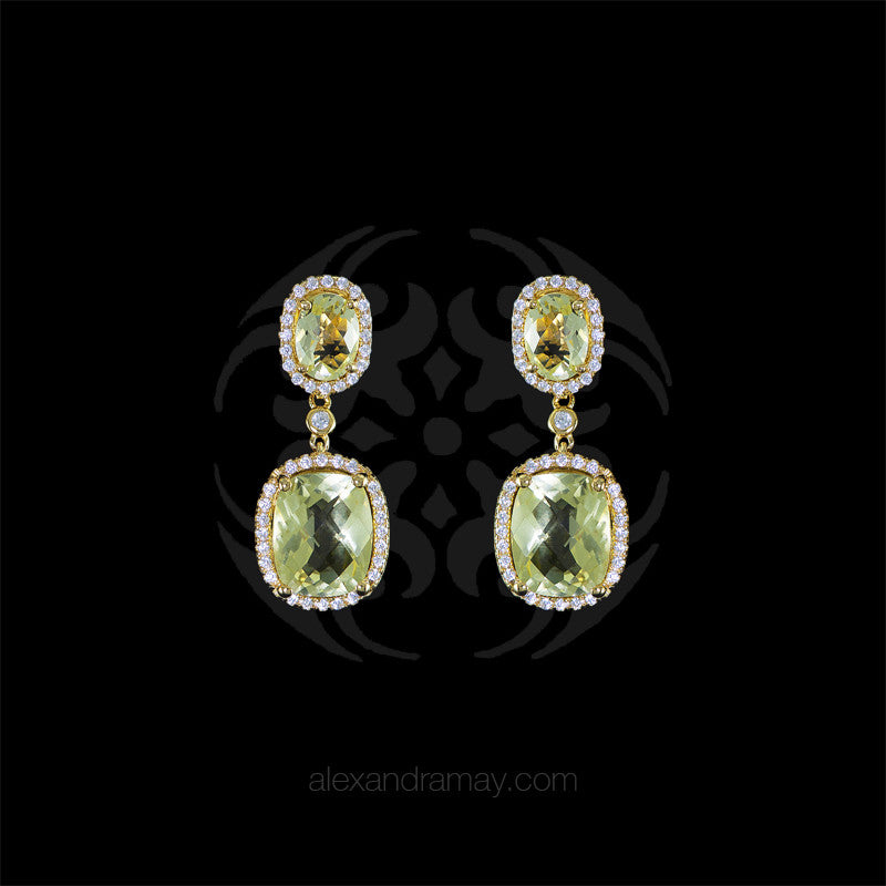 Lustre of london yellow gold citrine cushion cut earrings ea30cvy