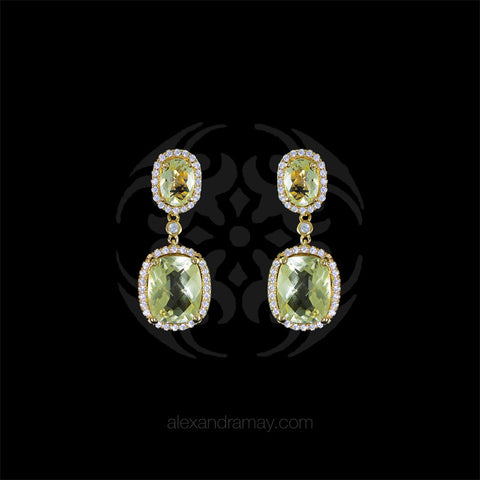 Lustre of London Yellow Gold & Citrine Cushion Cut Earrings (EA30CVY) front