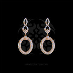 Lustre of London Rose Gold Figure of 8 Oval Drop Earrings (EA02CVR)
