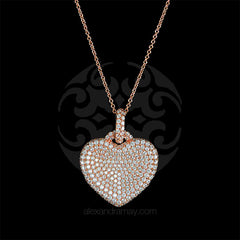 Lustre of London Rose Gold Heart Pendant Necklace (PN503CVR) front
