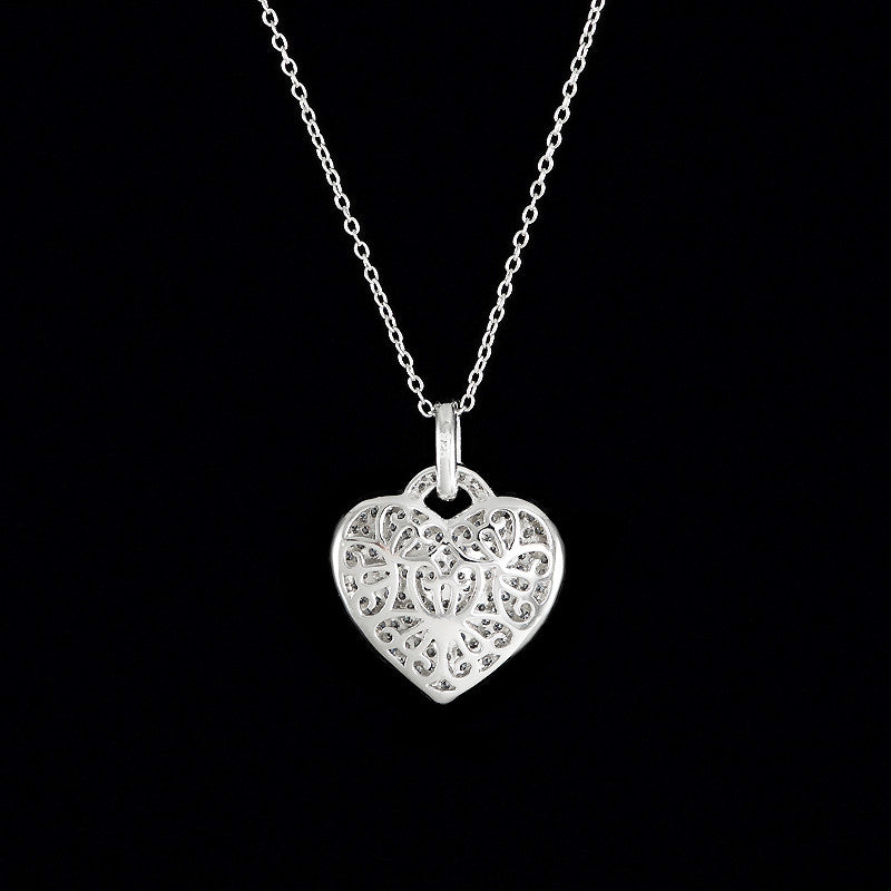 Lustre of London Silver Heart Pendant Necklace (PN503CVW) back