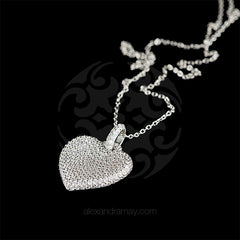 Lustre of London Silver Heart Pendant Necklace (PN503CVW) detail