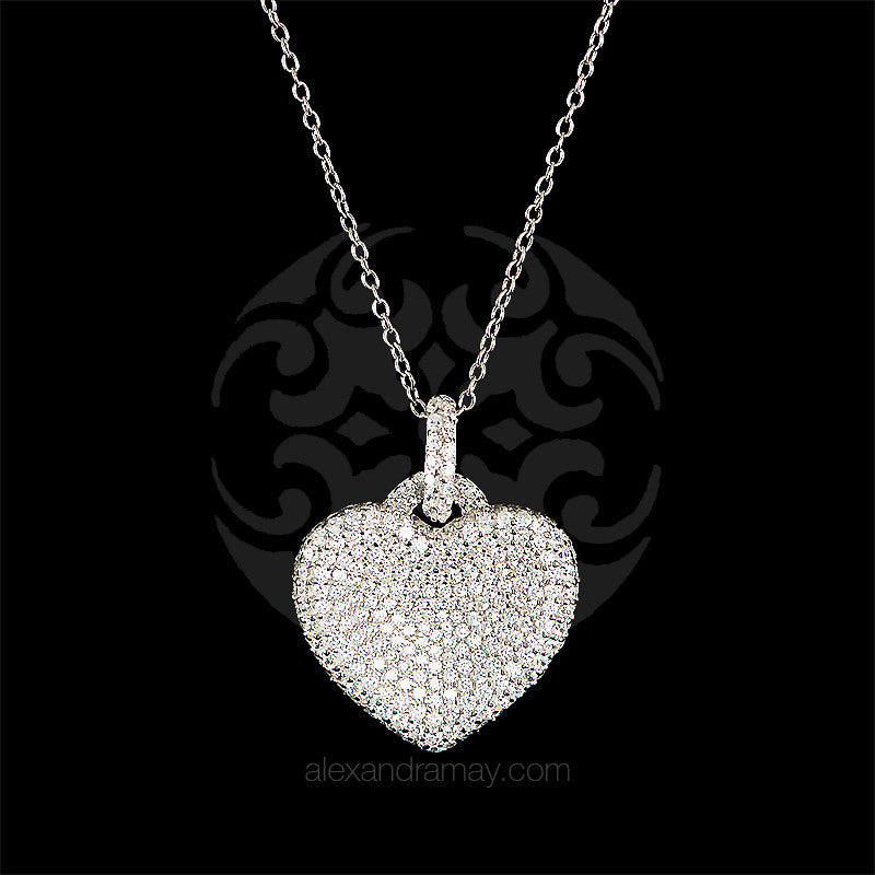 Lustre of London Silver Heart Pendant Necklace (PN503CVW)