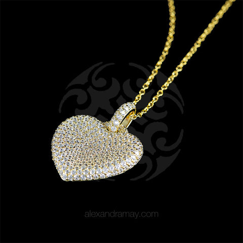 Lustre of London Yellow Gold Heart Pendant Necklace (PN503CVY) detail