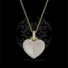 Lustre of London Yellow Gold Heart Pendant Necklace (PN503CVY)