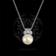 Lustre of London Silver Pearl Pendant Necklace (EA33CVW) front