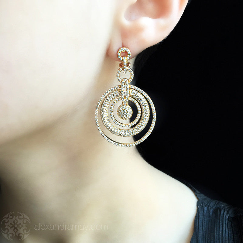 Lustre of London Yellow Gold Multi Circle Earrings (EA07CVY) model