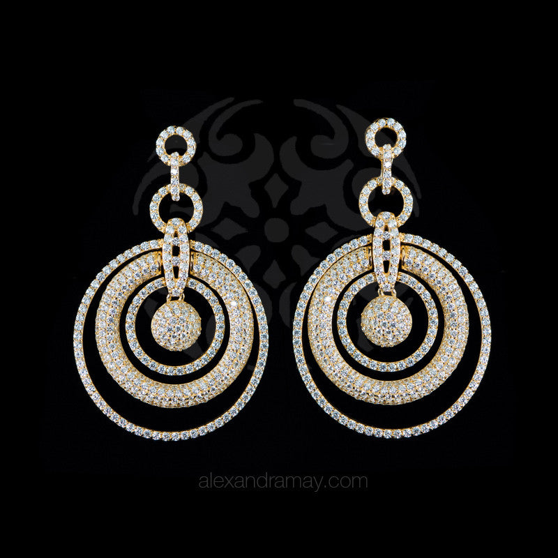 Lustre of London Yellow Gold Multi Circle Earrings (EA07CVY)