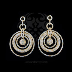 Lustre of London Yellow Gold Multi Circle Earrings (EA07CVY) front