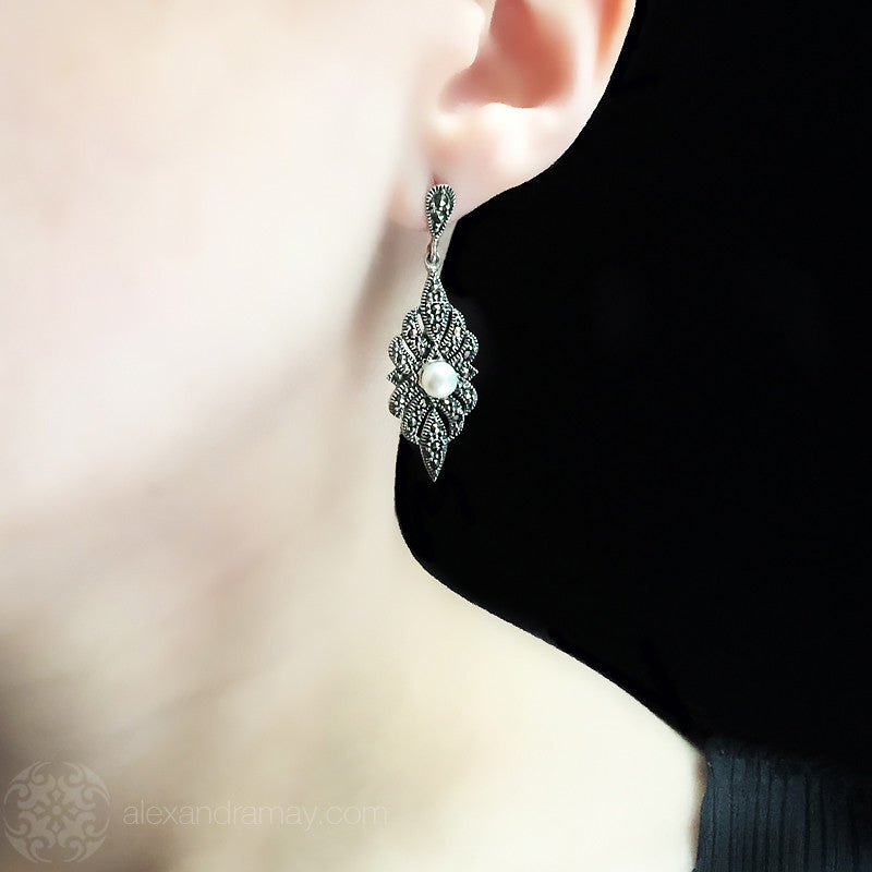 Luke Stockley Marcasite Pearl Art Deco Earrings (HE903PL)
