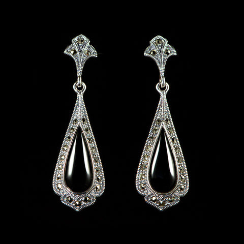 Luke Stockley Marcasite Black Onyx Classical Tear Drop Earrings (HE8Onyx)