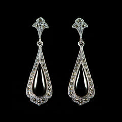 Sterling Silver & Marcasite Black Onyx Classical Tear Drop Earrings - main