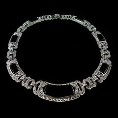 Luke Stockley Sterling Silver & Marcasite Spectacular Art Deco Black Onyx Collar (NEO46O)
