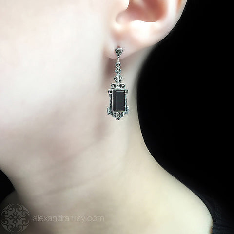 Luke Stockley Marcasite Black Onyx Deco Earrings (AE262O)