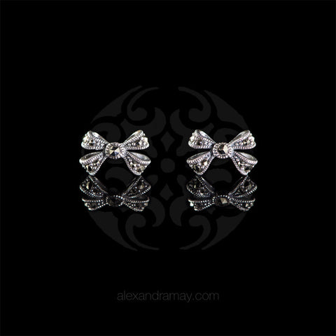 Luke Stockley Marcasite & Silver Bow Stud Earrings (HE726)
