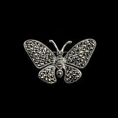 Luke Stockley Silver Marcasite Butterfly Brooch (M3540)