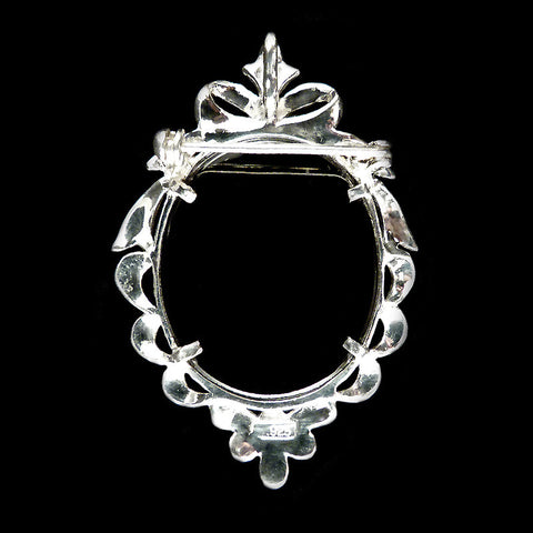 Sterling Silver & Marcasite Black Onyx & Mother of Pearl Cameo Pendant Brooch - back
