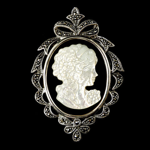 Sterling Silver & Marcasite Black Onyx & Mother of Pearl Cameo Pendant Brooch - front