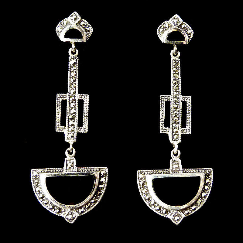 Sterling Silver & Marcasite Art Deco Mother of Pearl Earrings - main