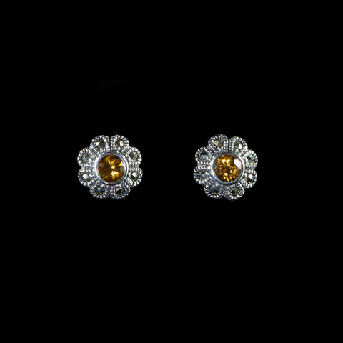Luke Stockley Marcasite Citrine Flower Stud Earrings (HE372CT)