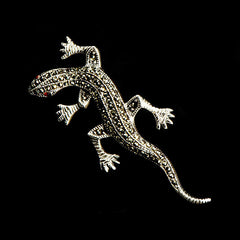 Sterling Silver & Marcasite Lizard Brooch - main