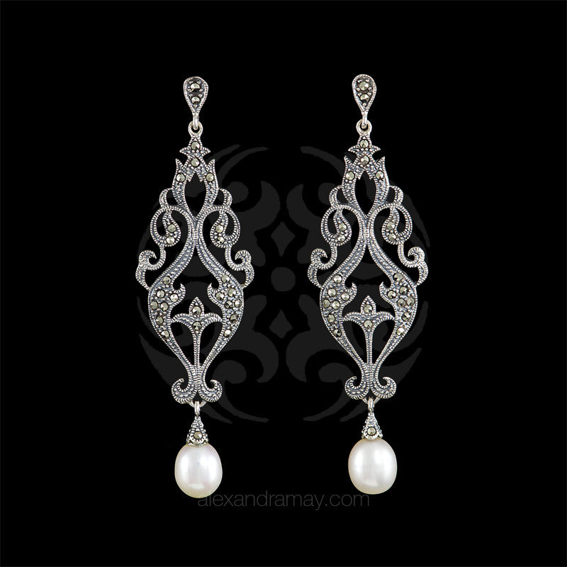 jewelry habibi earrings long swarovski product pearl white
