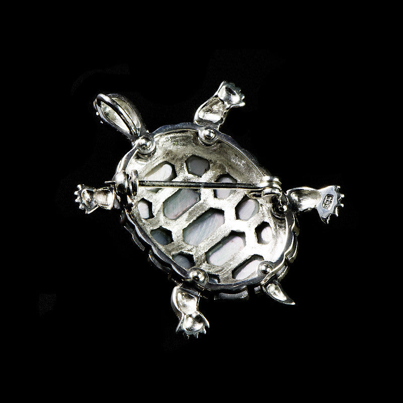 Sterling Silver & Marcasite Turtle Mother of Pearl Pendant Brooch - back