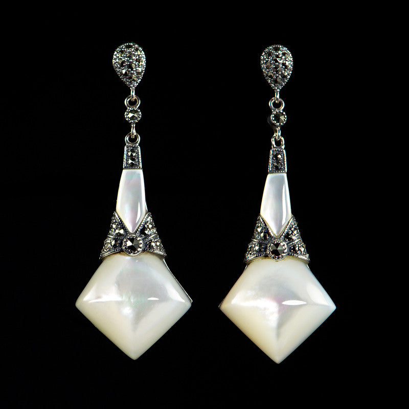 Sterling Silver & Marcasite Classical Art Deco Smooth Mother of Pearl Drop Earrings - main