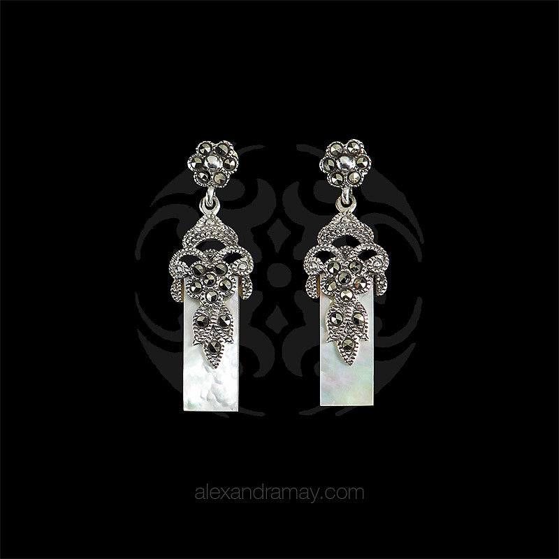 Luke Stockley Marcasite Mother of Pearl Flower Earrings (EAE320MOP)