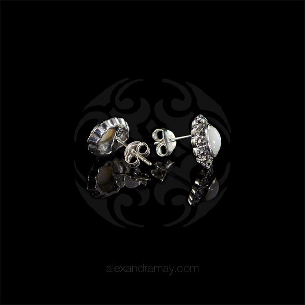 Luke Stockley Marcasite Small Mother Of Pearl Stud