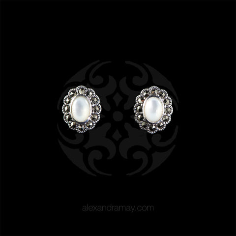 Luke Stockley Marcasite Small Mother of Pearl Stud Earrings (HE144MOP)