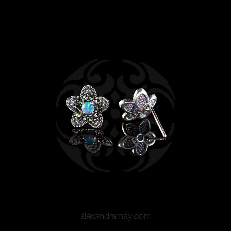 Luke Stockley Marcasite & Blue Opal Flower Stud Earrings (HE681BOP)