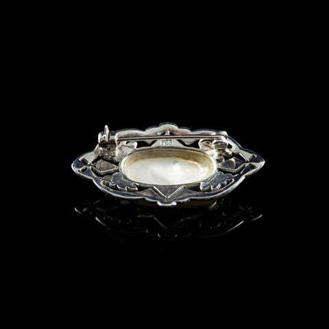 Luke Stockley Silver Marcasite Decorative Oval Mother of Pearl Brooch (AB168MOP) back