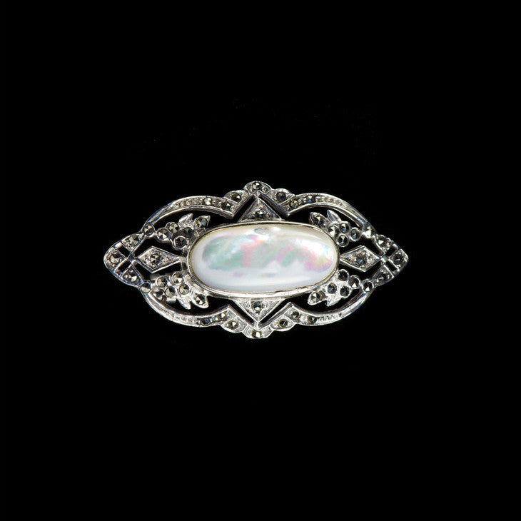 Luke Stockley Silver Marcasite Decorative Oval Mother of Pearl Brooch (AB168MOP)