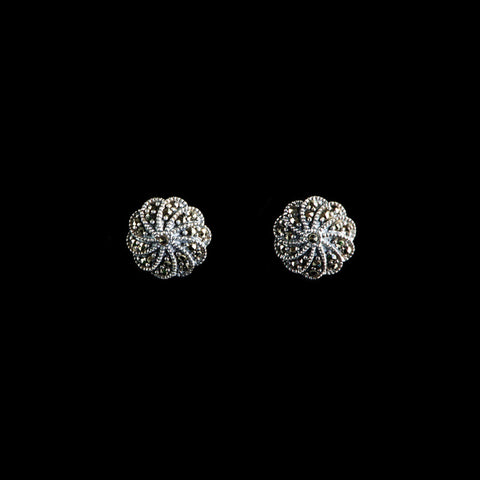Luke Stockley Marcasite & Silver Wheel Stud Earrings (ME279)
