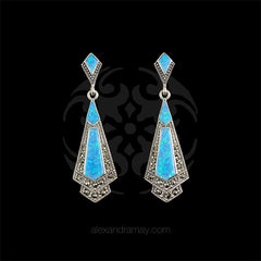 Luke Stockley Marcasite & Blue Opal Earrings (HE106BOP) front