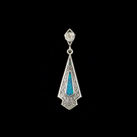 Luke Stockley Marcasite & Blue Opal Earrings (HE106BOP)