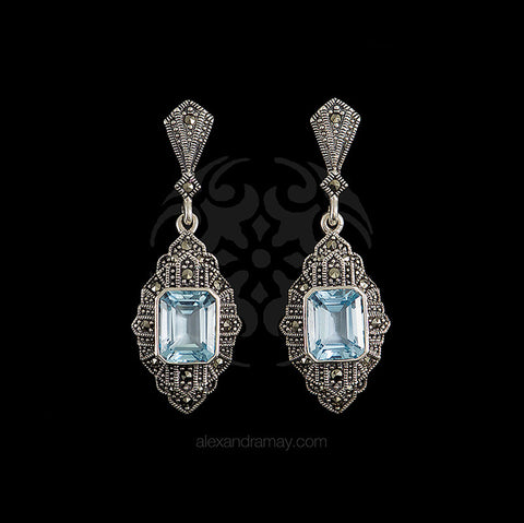 Luke Stockley Sterling Silver & Marcasite Blue Topaz Square Drop Earrings (HE842) front