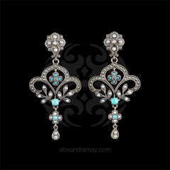 Jonathan Lynne Sterling Silver & Marcasite Baroque Turquoise Seed Pearl Earrings (UVE20)
