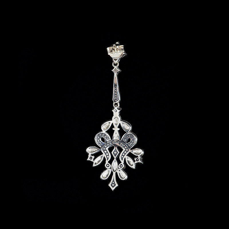 Luke Stockley Marcasite Classical Long Fretwork Drop Earrings (HE655)