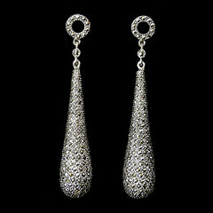 Sterling Silver & Marcasite Classical Deco Drop Earrings - main