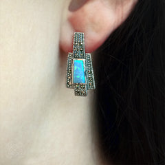 Luke Stockley Marcasite Blue Opal Small Deco Style Earrings (HE255OP)