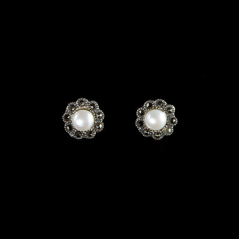 Luke Stockley Marcasite Small Flower Pearl Stud Earrings (ME719-PL)